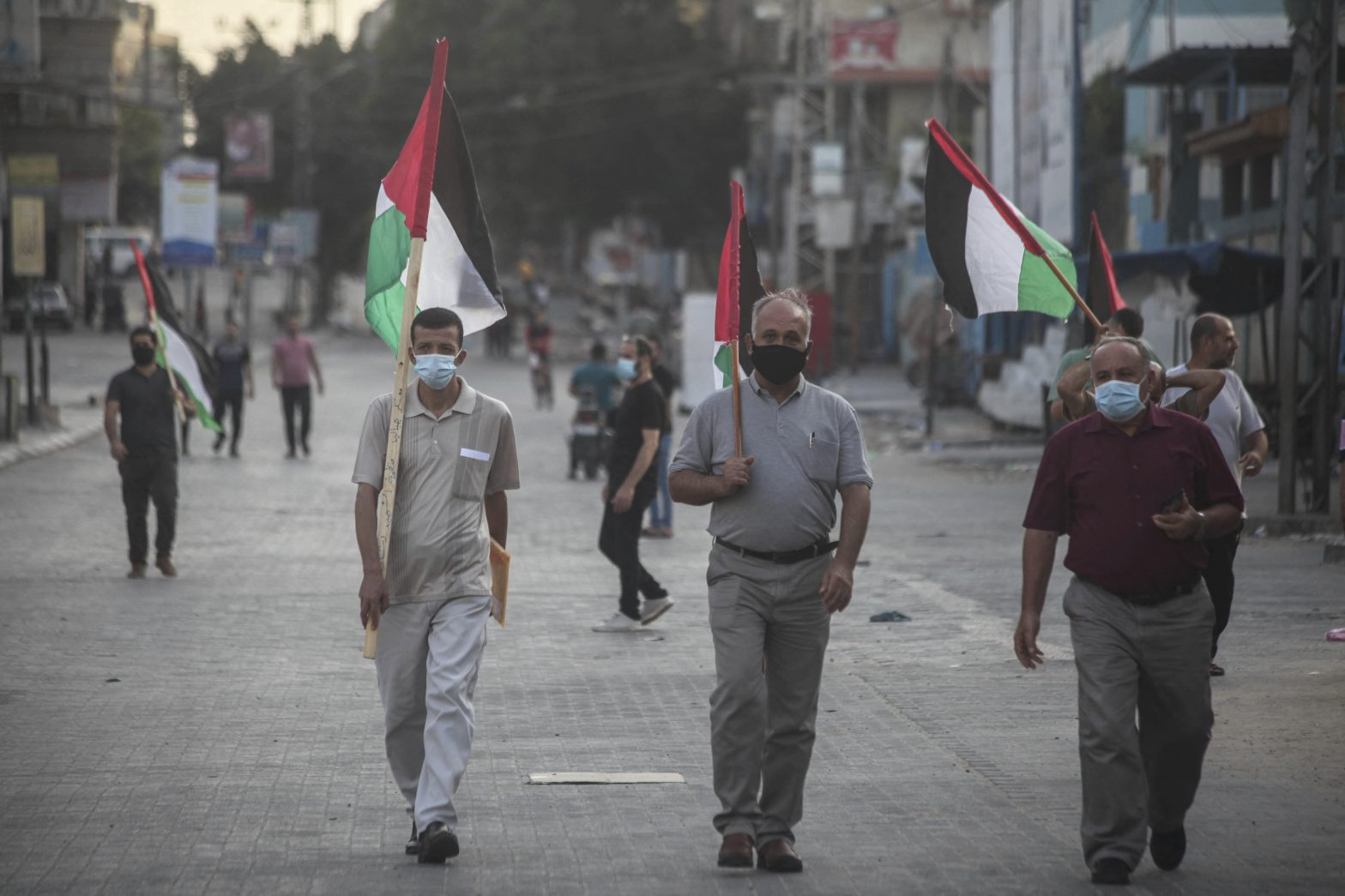 Palestinians protest in Gaza City